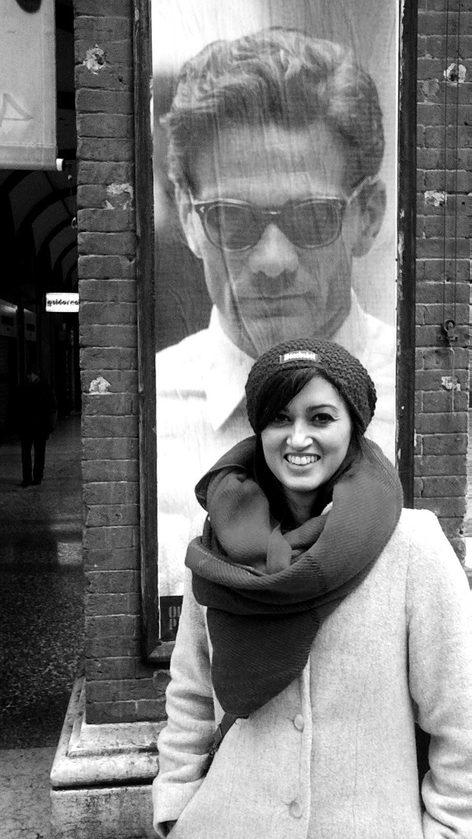 Ph.D. candidate Eleonora Sartoni at a Pasolini exhibit in Bologna.